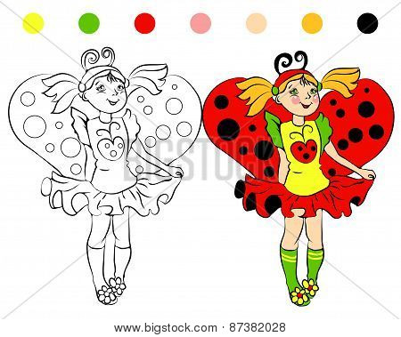 coloring page girl in costume Ladybug