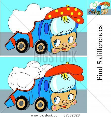 Cartoon Vector Illustration of Finding Differences