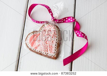 Heart Shaped Cookie Decorated With Ornaments