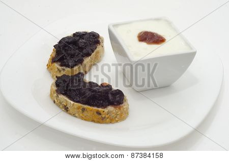 Slices Of Bread With Jam And Cup Of Jam