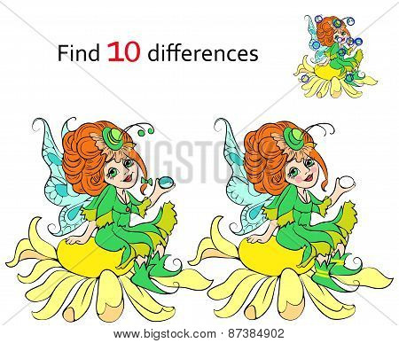 Find 10 differences Beautiful fairy