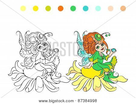 Cartoon fairy  coloring page