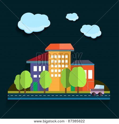 Illustration Urban Landscape. Color Vector Flat Design
