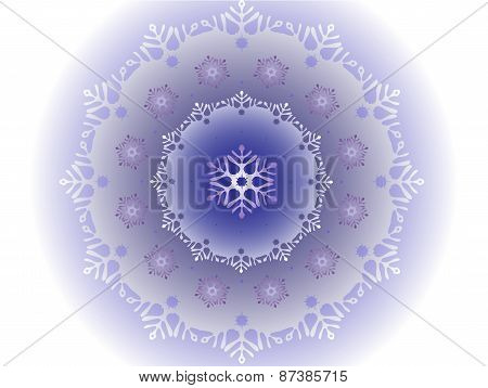 Petite Snowflakes That Are Inside Large Snowflake. Frosty Ball Covered With A Pattern Of Frost In Th