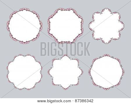 Ornamental calligraphic round frame with heart design element, Vector set