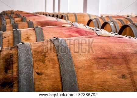 American oak barrels with red wine. Traditional wine cellar