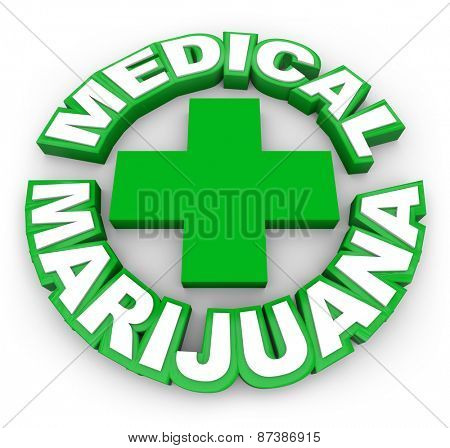 Medical Marijuana in green words around a plus sign to illustrate or advertise legal pot for sale by prescription to treat illness, disease or conditions
