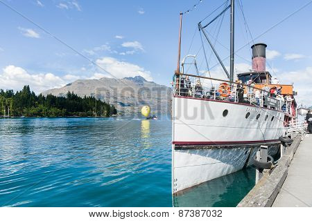 Earnslaw Docked At Queenstown's Lake Wakatipu.