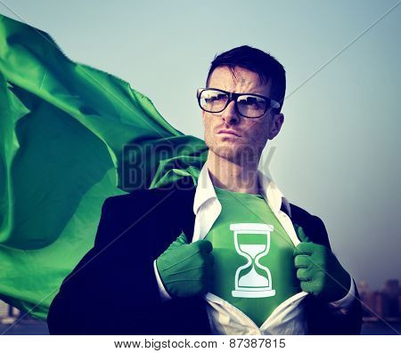 Strong Superhero Businessman Hourglass Concepts