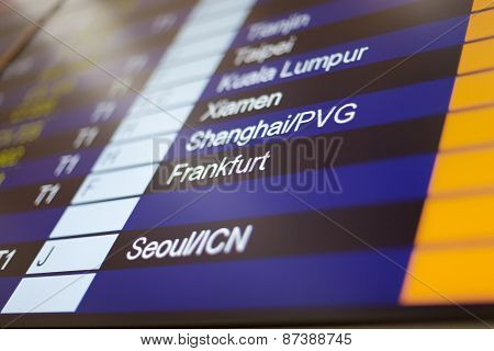 Hong Kong, International Airport - 26 October 2012: Arrival Board In Terminal
