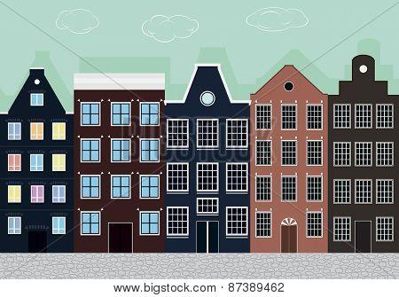Original Colourful European Houses.