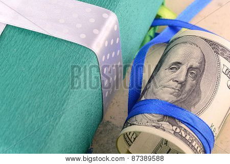 American Money And Green Gift Box