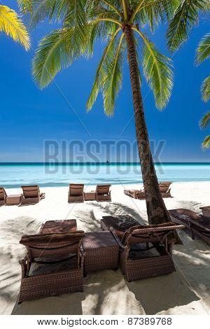 Beach Chairs On A Beautiful Island,  Boracay