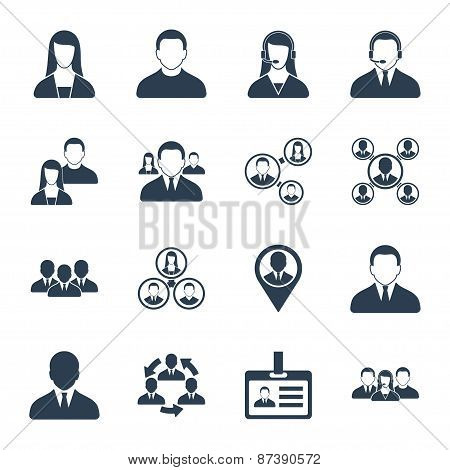 Human resource and management icons set