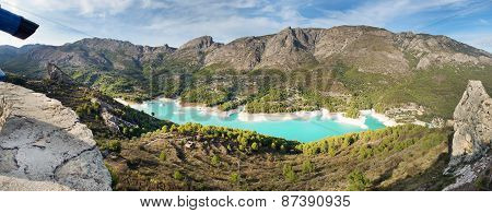 Panorama from the observation platform at the Blue Lake in the mountains