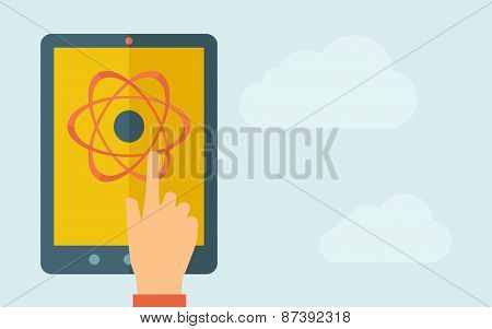 A hand is touching the screen of a tablet with science technology icon. A contemporary style with pastel palette, light blue cloudy sky background. Vector flat design illustration. Horizontal layout