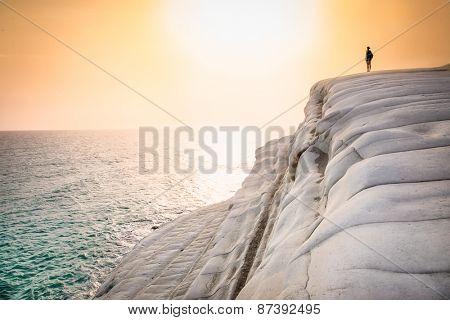 White beach. Scala dei Turchi in sunset on Sicily, Italy.