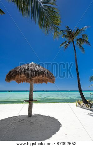 Sun Umbrella On Tropical Beach
