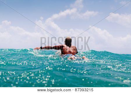 Man Swim On Surf