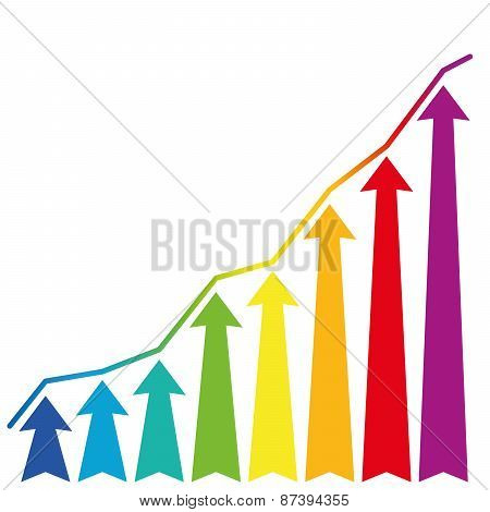 Increase Growth Rainbow Arrows