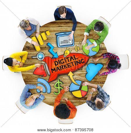 People Teamwork Digital Marketing Advertisement Technology Internet Concept