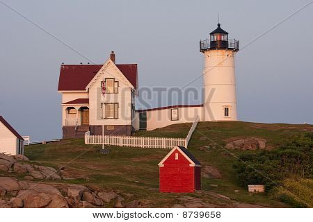 Nubble Lighthouse York Maine at Sunset