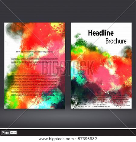 Watercolor Set Of Corporate Business Stationery Templates. Abstract Brochure Design. Modern Back And
