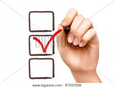 Hand with pen and check boxes. Vector illustration