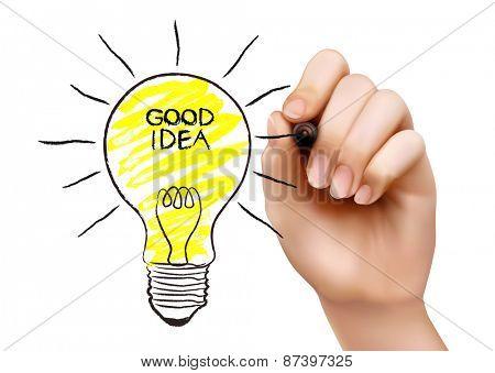 Hand draws a light bulb. Concept of the idea. Vector illustration