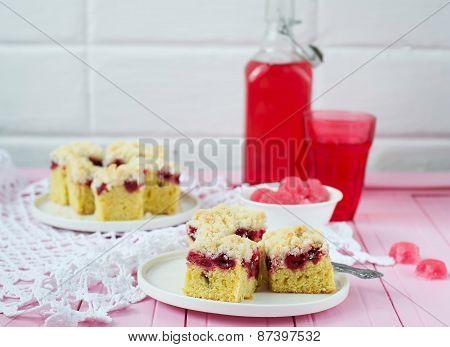 Cherry Pie With Crispy Crumbs. Selective Focus