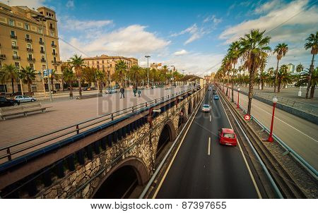 Streets of Barcelona on the coast of Spain.