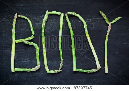 Word Body Made Of Asparagus Vegetables