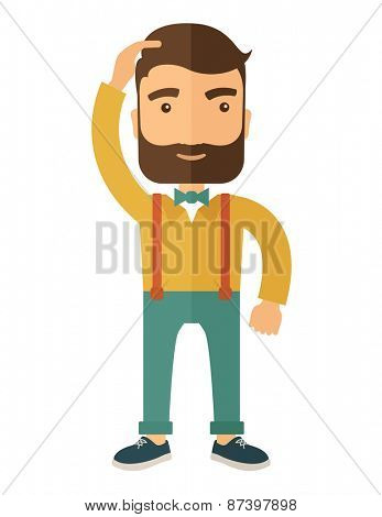 A man with beard standing with hand on his head having a problem in business, difficulties on how to solve his problem. A contemporary style. Vector flat design illustration isolated on white