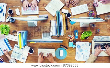 Group of Business People Busy Working in the Office