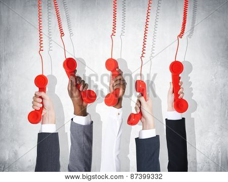 Business Telecommunication Conversation Red Phone Home Phone Concept