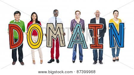 DIverse People Holding Text Domain Concept