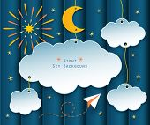 image of moon stars  - paper clouds moon stars fireworks and plane flying on night scene background - JPG