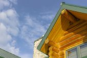 pic of log cabin  - A log cabin home in a rural environment - JPG
