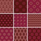 pic of marsala  - Set of simple seamless abstract marsala patterns - JPG