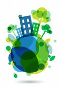 foto of save earth  - Colorful house silhouette and green trees on the Earth - JPG