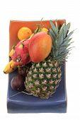 pic of dragon fruit  - pineapple mango orange banana and dragon fruit isolated on the white background - JPG