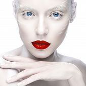 picture of albinos  - Beautiful girl in the image of albino with red lips and white eyes - JPG