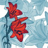 image of lillies  - Elegant illustration of lilly flowers - JPG