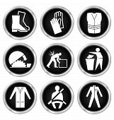 pic of seatbelt  - Black and white construction manufacturing and engineering health and safety related icon set isolated on white background - JPG