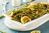 stock photo of sauteed  - Homemade Sauteed Green Beans with Lemon and Garlic