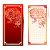 picture of dragon  - Chinese traditional template with chinese dragon on chinese pattern Background - JPG