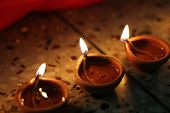 pic of diwali  - oil lamps lit on diwali festival - JPG