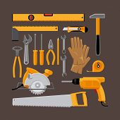 picture of hammer drill  - Set of hand tools icons in flat style - JPG