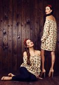 picture of headband  - fashion studio photo of two beautiful girls with dark hair in dresses with prints of red poppies and with headbands - JPG