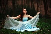 stock photo of fairies  - Romantic young girl in a long blue dress in the twilight fairy forest - JPG